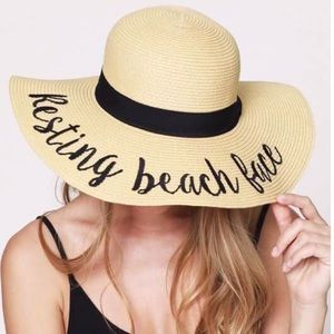 🆕Resting Beach Face Embroidered Floppy Sun Hat